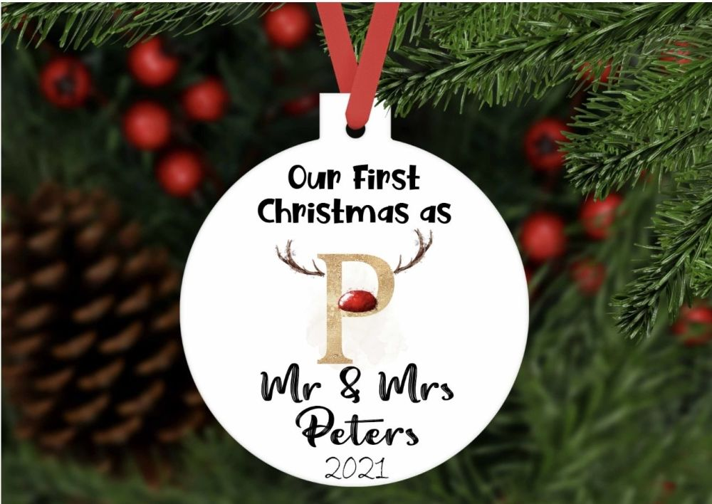 Bauble - Personalised Our First Christmas as Mr and Mrs reindeer bauble shaped ornament