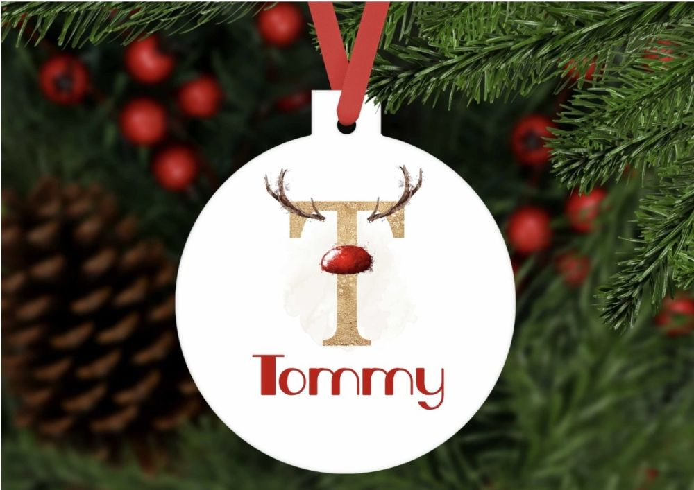 Bauble - Personalised Reindeer initials bauble shaped ornament