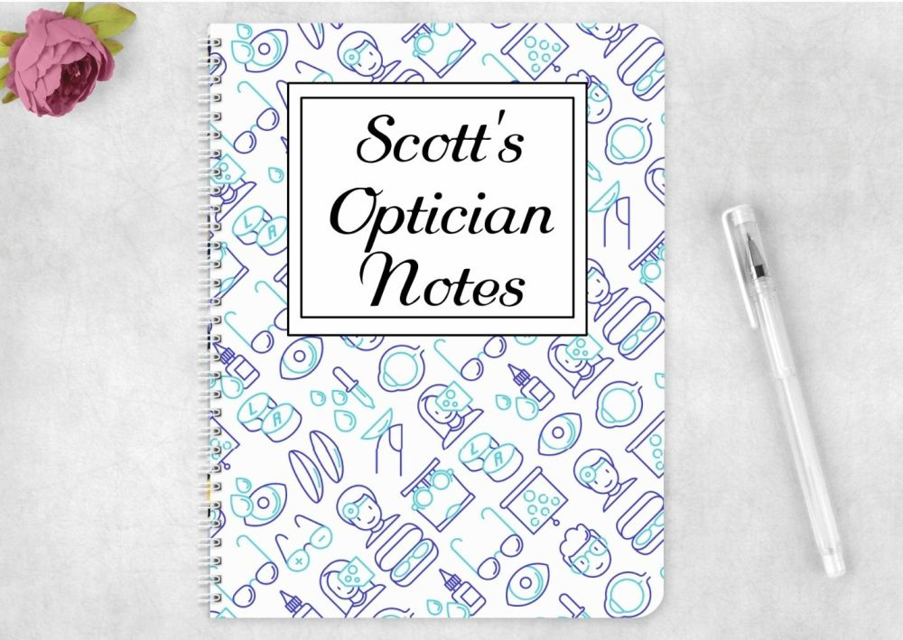 Optician note book, personalised optical journal for optitions