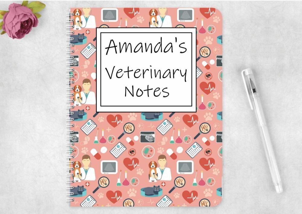Veterinary note book, personalised vets journal