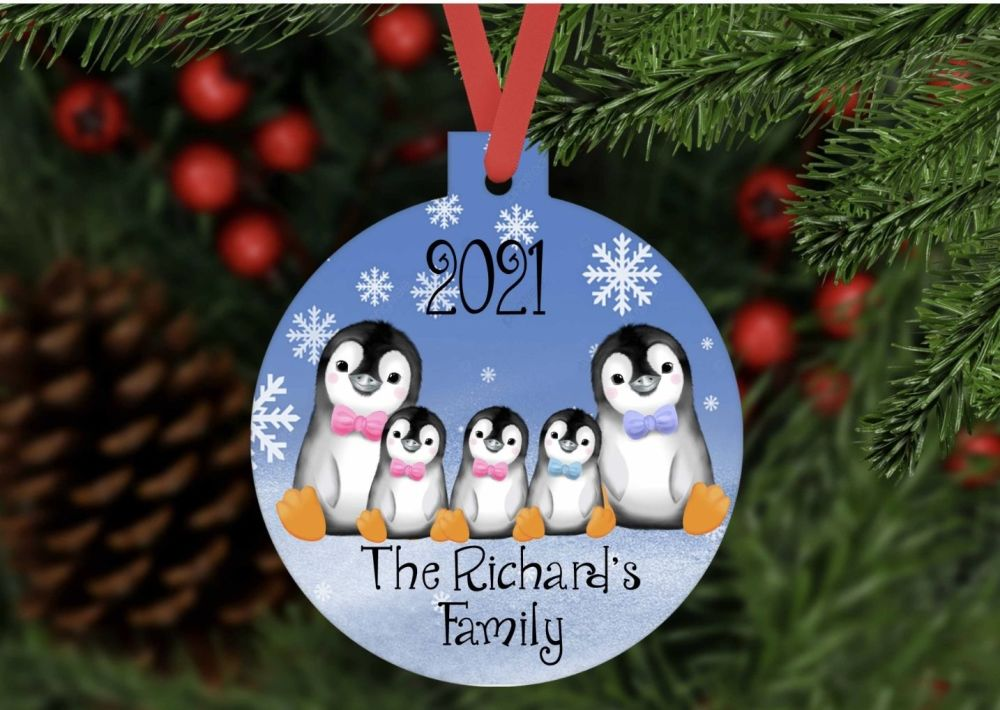 Bauble - Personalised Penguin family bauble shaped ornament