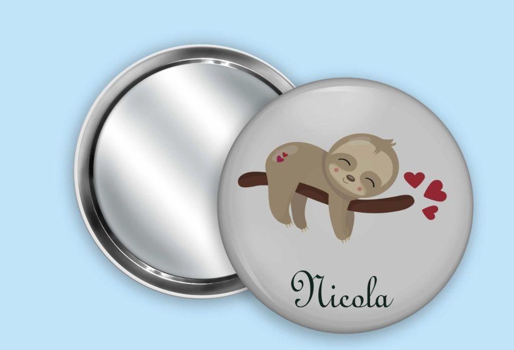 Sleeping Sloth mirror, mirror keyring or bottle opener - personalised.