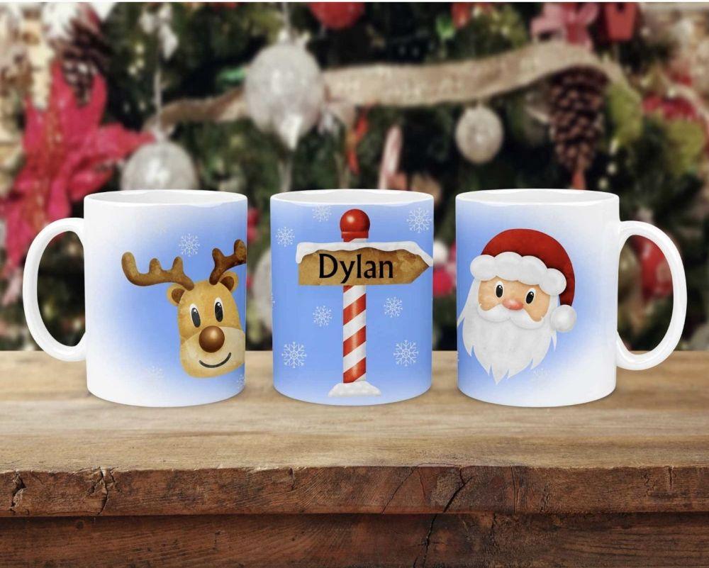 Personalised Christmas mug with santa reindeer. Childrens Christmas eve box