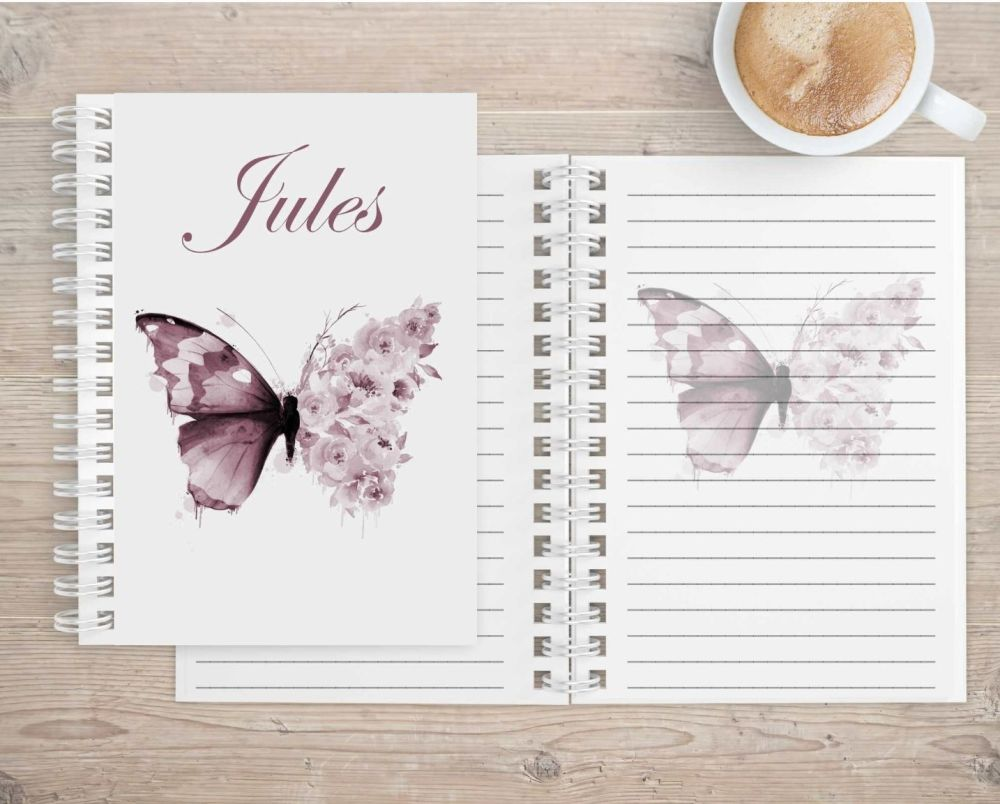 Butterfly with flower wings,  eco friendly notebook - image printed on all pages.