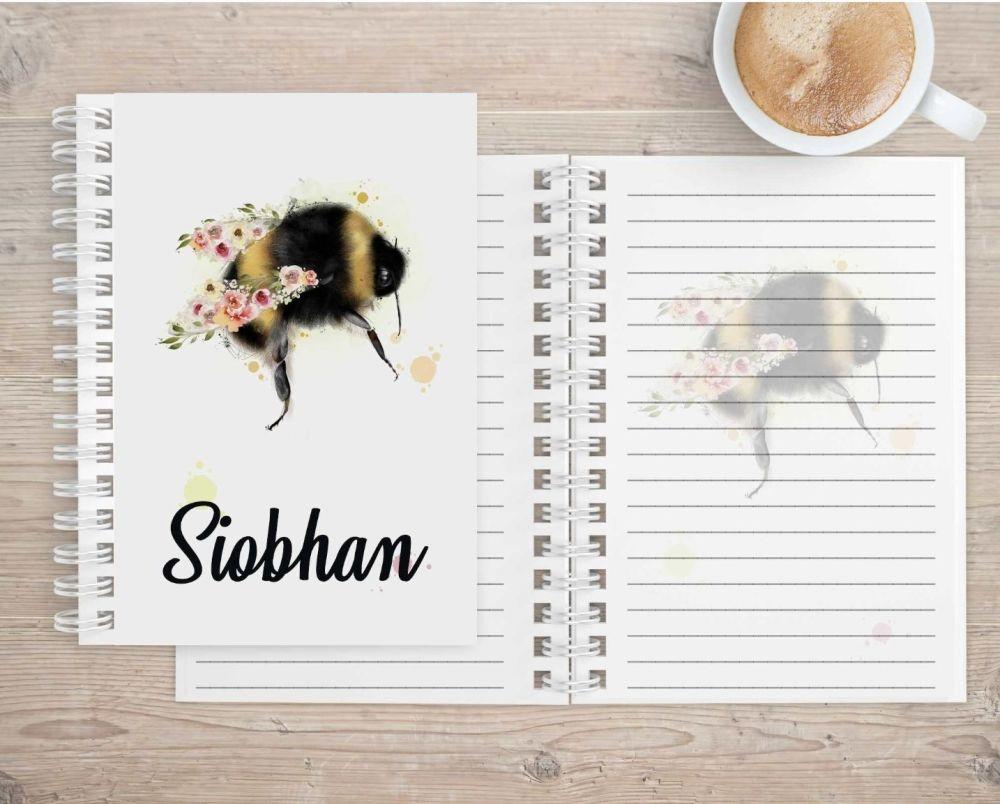 Notebook - personalised bee notepad
