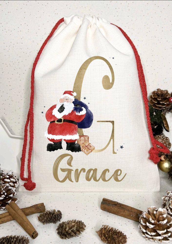 Santa sack, personalised - hushing santa