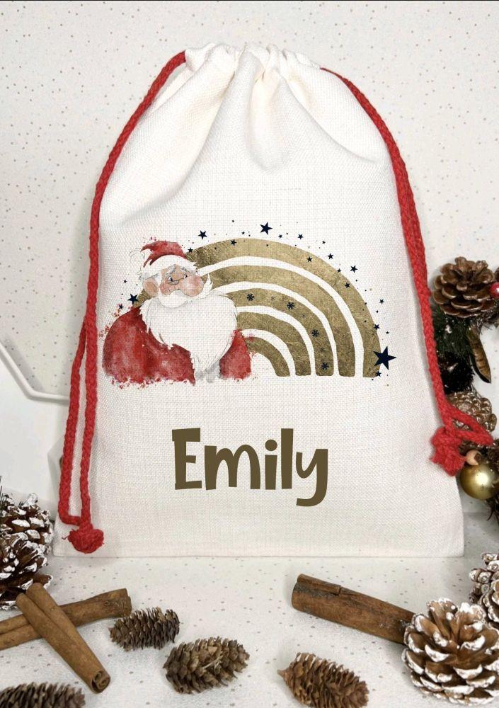 Santa sack, personalised -  santa reinbow
