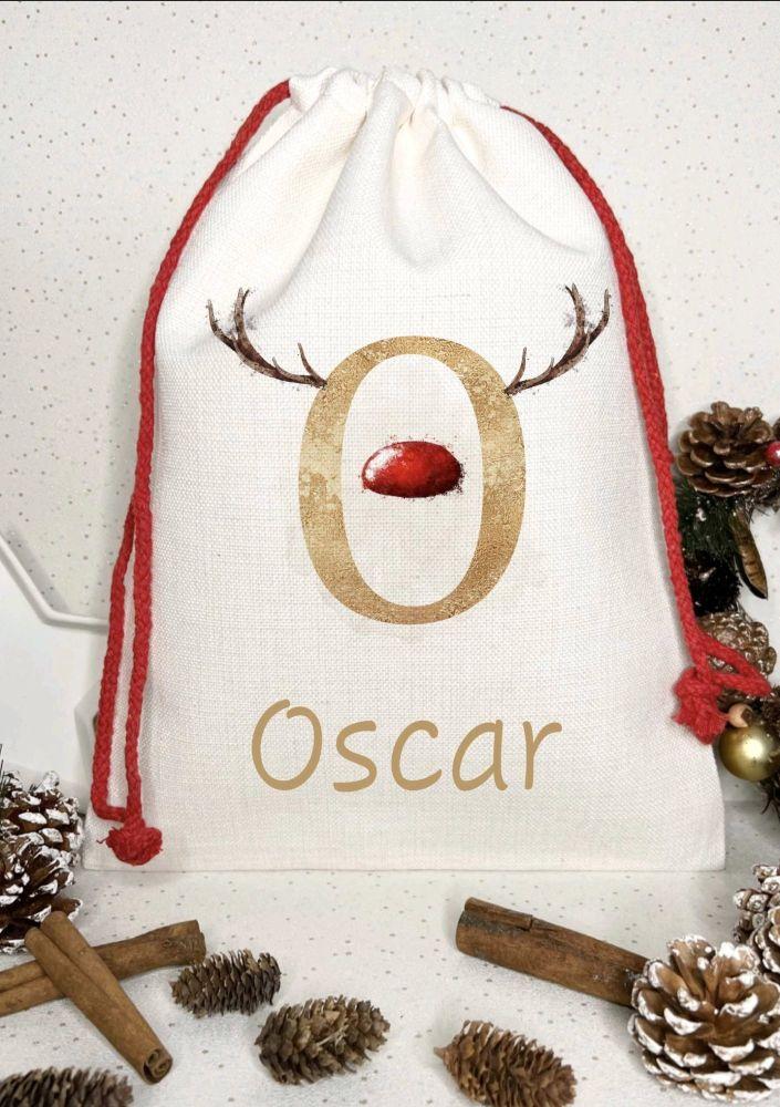 Santa sack, personalised -  reindeer antlers and bright nose
