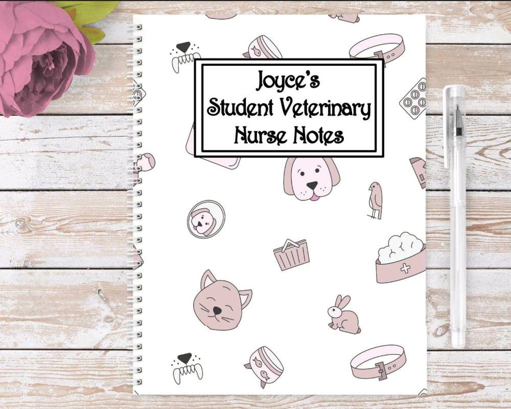 Student Veterinary Nurse note book, personalised vets journal