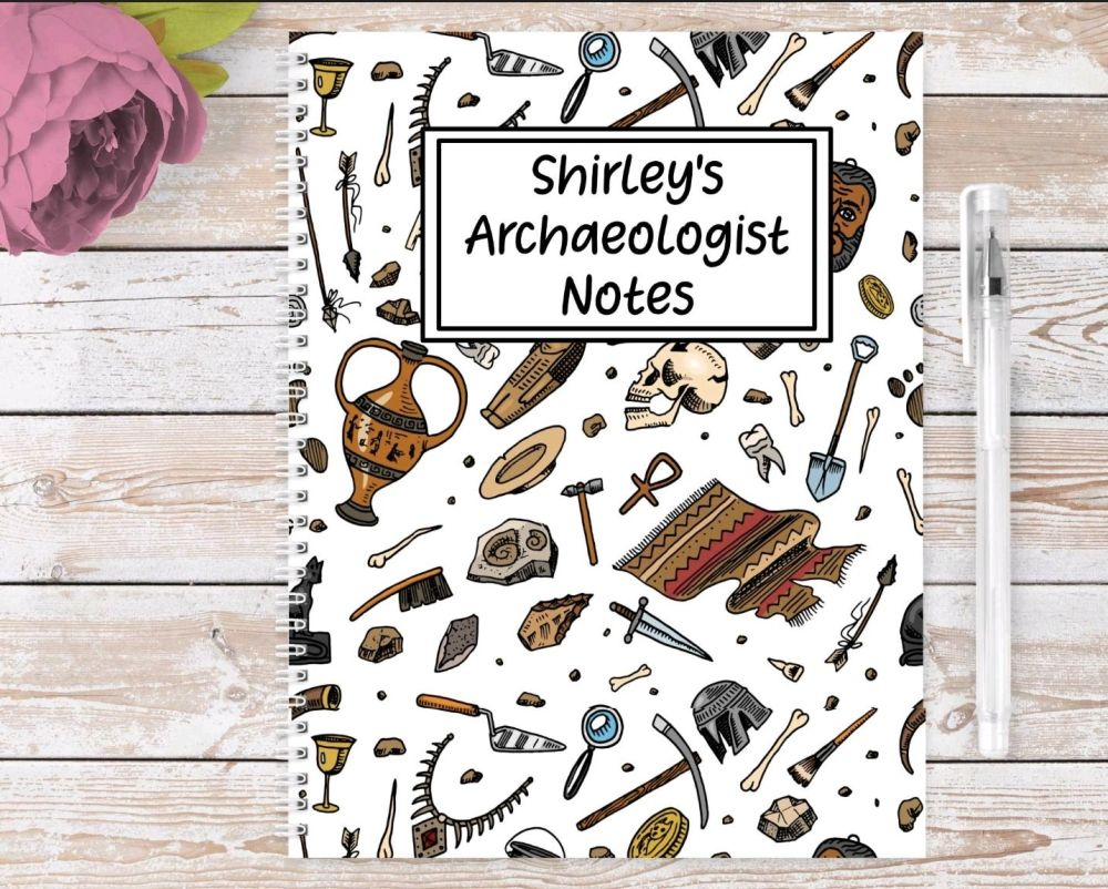 Archaeologist note book, personalised archaeology journal