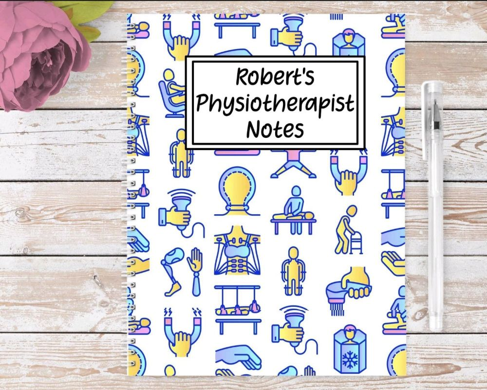 Physiotherapist note book, personalised physiotherapy physio  journal