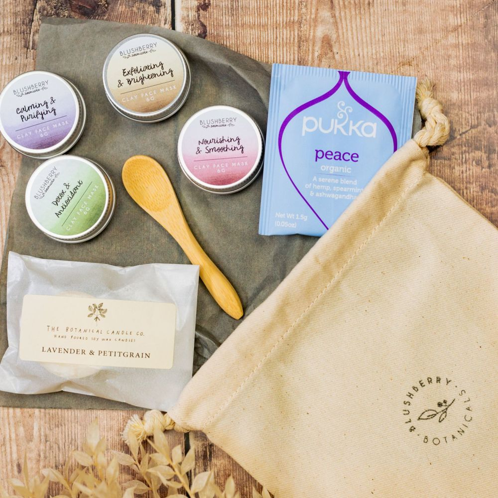 Relaxing Facial Set With Cotton Gift Bag
