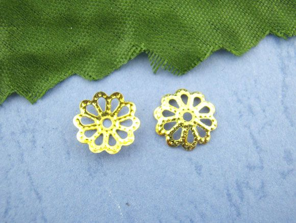 Filigree Beads Caps Gold Plated 9mm