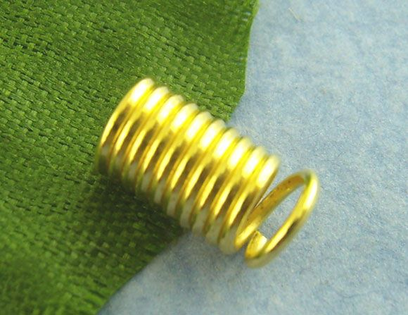 coil Spring End Crimp Fasteners Cylinder Gold Plated