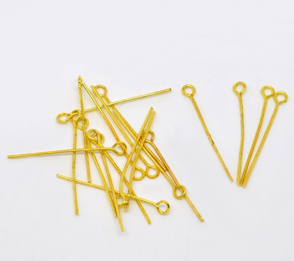 Gold Plated Eye Pins 26mm