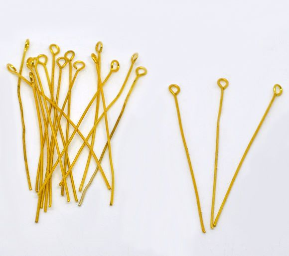 Gold Plated Eye Pins 50mm