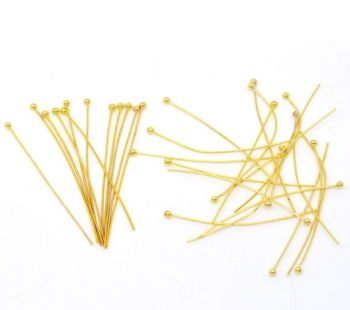 Gold Plated Ball Head Pins 30mm