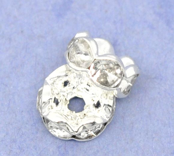 Rondelle Spacer Beads Silver Plated 8mm
