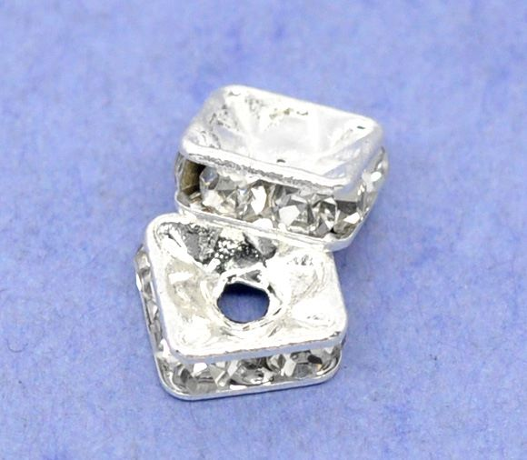 Rondelle Spacer Beads Square Silver Plated 6mm