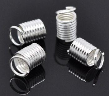Coil Spring End Crimp Fastenener Cylinder Silver Plated