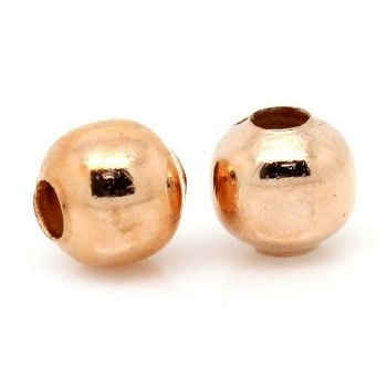 Ball Spacer Beads 4mm Rose Gold Plated