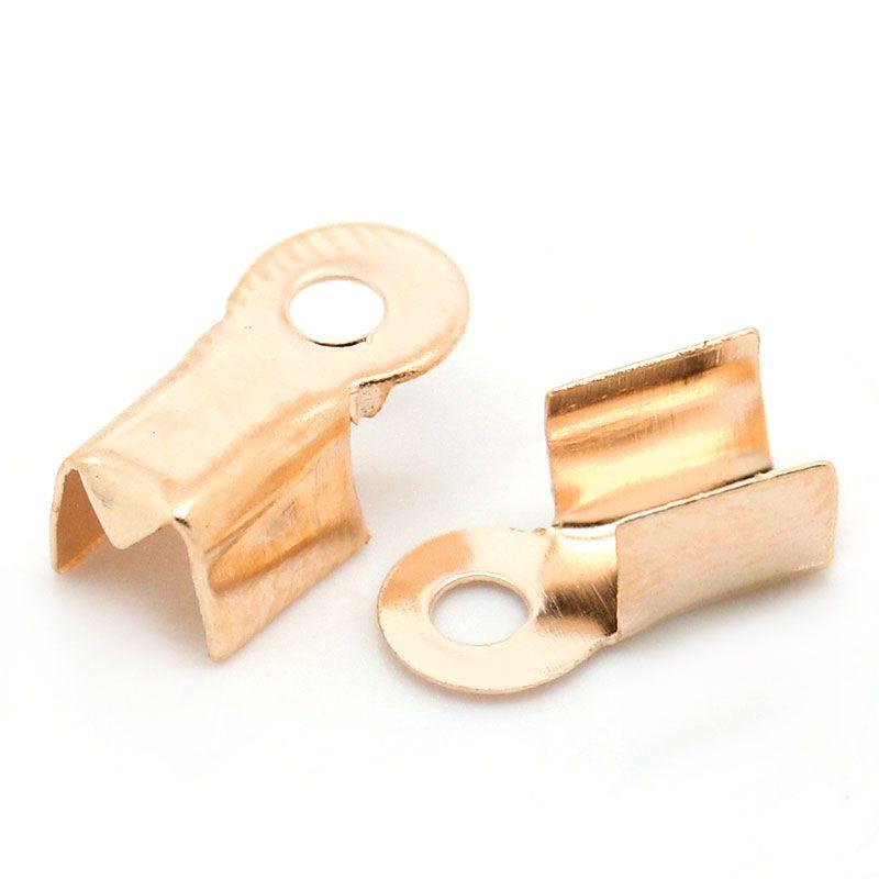 Cord Crimp End Caps Rose Gold 9mm x 4mm