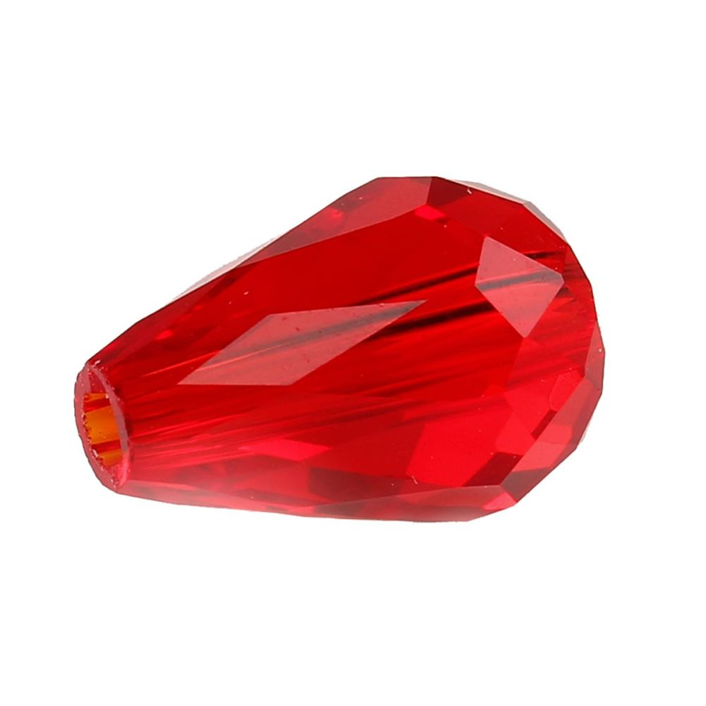 Red Faceted Teardrop Crystal Bead 11mm x 8mm
