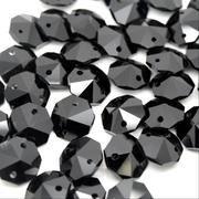 Jet Black Octagon Bead 14mm