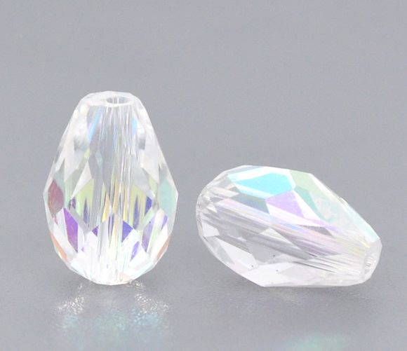 Clear AB Faceted Teardrop Crystal Bead 8mm x 11mm