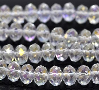 Clear AB Faceted Rondelle Bead - From £1.50 per string