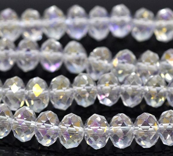 Clear AB Faceted Rondelle Bead
