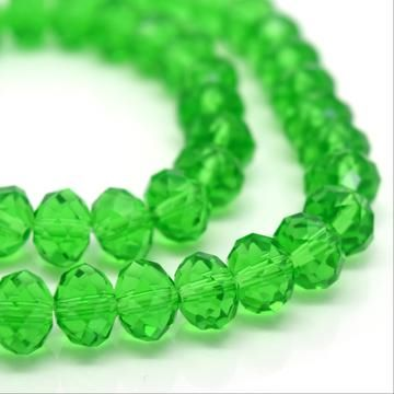 Fern Green Faceted Rondelle Bead