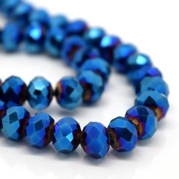 Metallic Blue Faceted Rondelle Bead