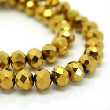 Metallic Gold Faceted Rondelle Bead