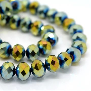 Metallic Gold/Green Faceted Rondelle Bead