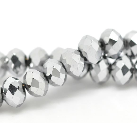 Metallic Silver Faceted Rondelle Bead