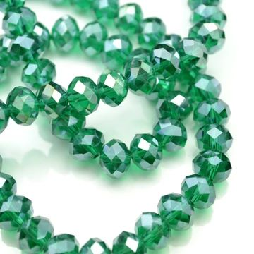 Emerald Lustre Faceted Rondelle Bead - From £1.50 per string