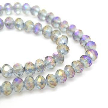 Metallic Grey/Purple Faceted Rondelle Bead