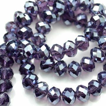 Violet Lustre Faceted Rondelle Bead