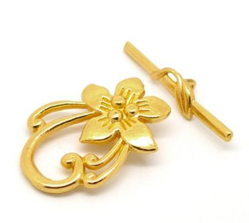 Gold Plated Flower Toggle Clasp