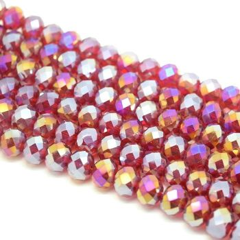 Dark Siam AB Faceted Rondelle Bead - From £1.50 per string