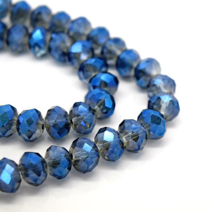 Metallic Grey/Blue Faceted Rondelle Bead - From £1.50 per string