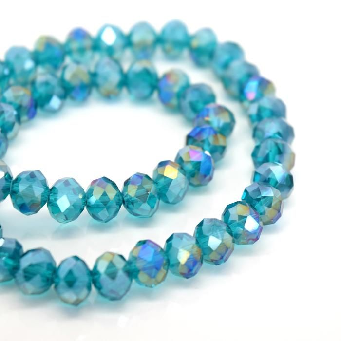 Turquoise AB Faceted Rondelle Bead - From £1.50 per string