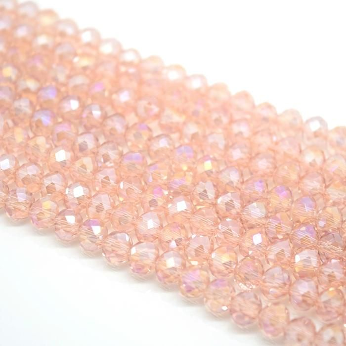 Vintage Rose AB Faceted Rondelle Bead - From £1.50 per string
