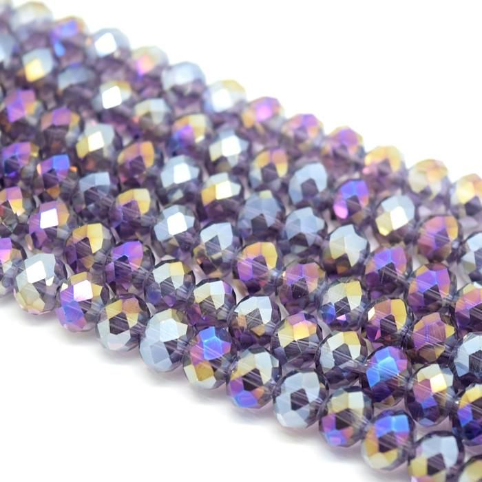 Violet AB Faceted Rondelle Bead - From £1.50 per string