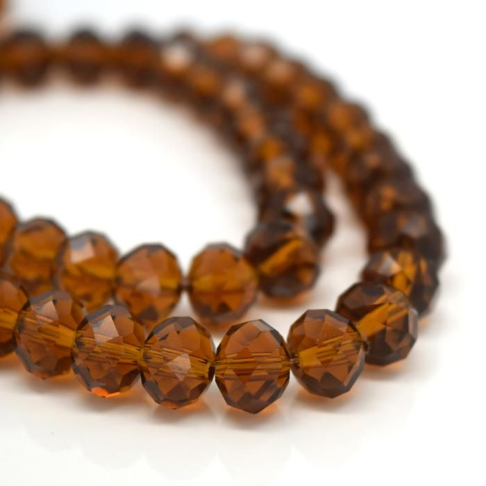 Amber Faceted Rondelle Bead - From £1.50 per string