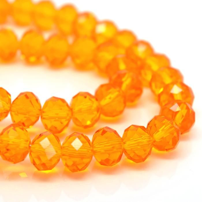 Light Orange Faceted Rondelle Bead - From £1.50 per string