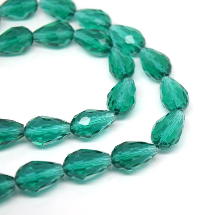 Emerald Faceted Teardrop Crystal Bead