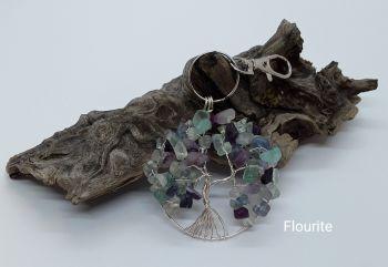 Fluorite Tree Of Life Bag Charm/Keyring