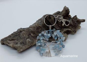 Aquamarine Tree Of Life Bag Charm/Keyring